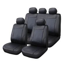 Luxury Waterproof Universal PU PVC Leather auto seat cover with red quilting car seat cover Set