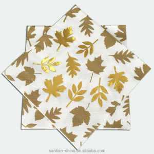 Hot Stamping Gold Or Silver Foil Printed Star Paper Napkins For Special Party