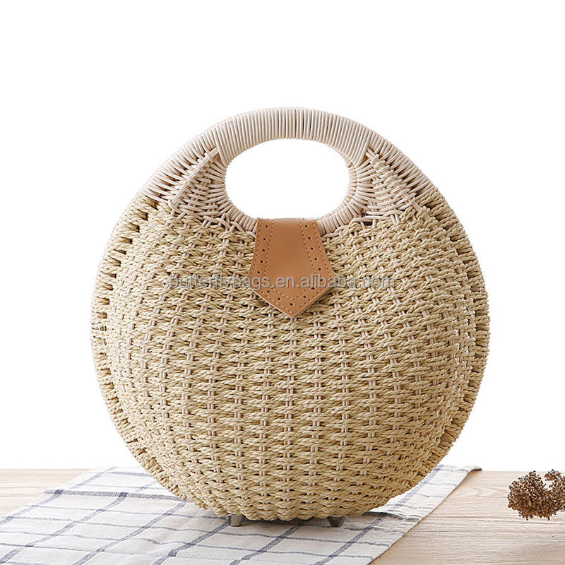 Wholesale women summer natural raffia straw bag shell shape rattan straw beach tote hand bag