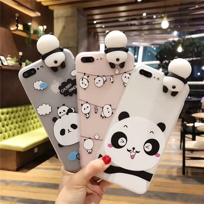 3D Cute Panda Phone Cases For iphone 7 Case Silicone Translucent Soft TPU Coque Cover for iphone 6s 6 8 7 plus X Cartoon Fundas