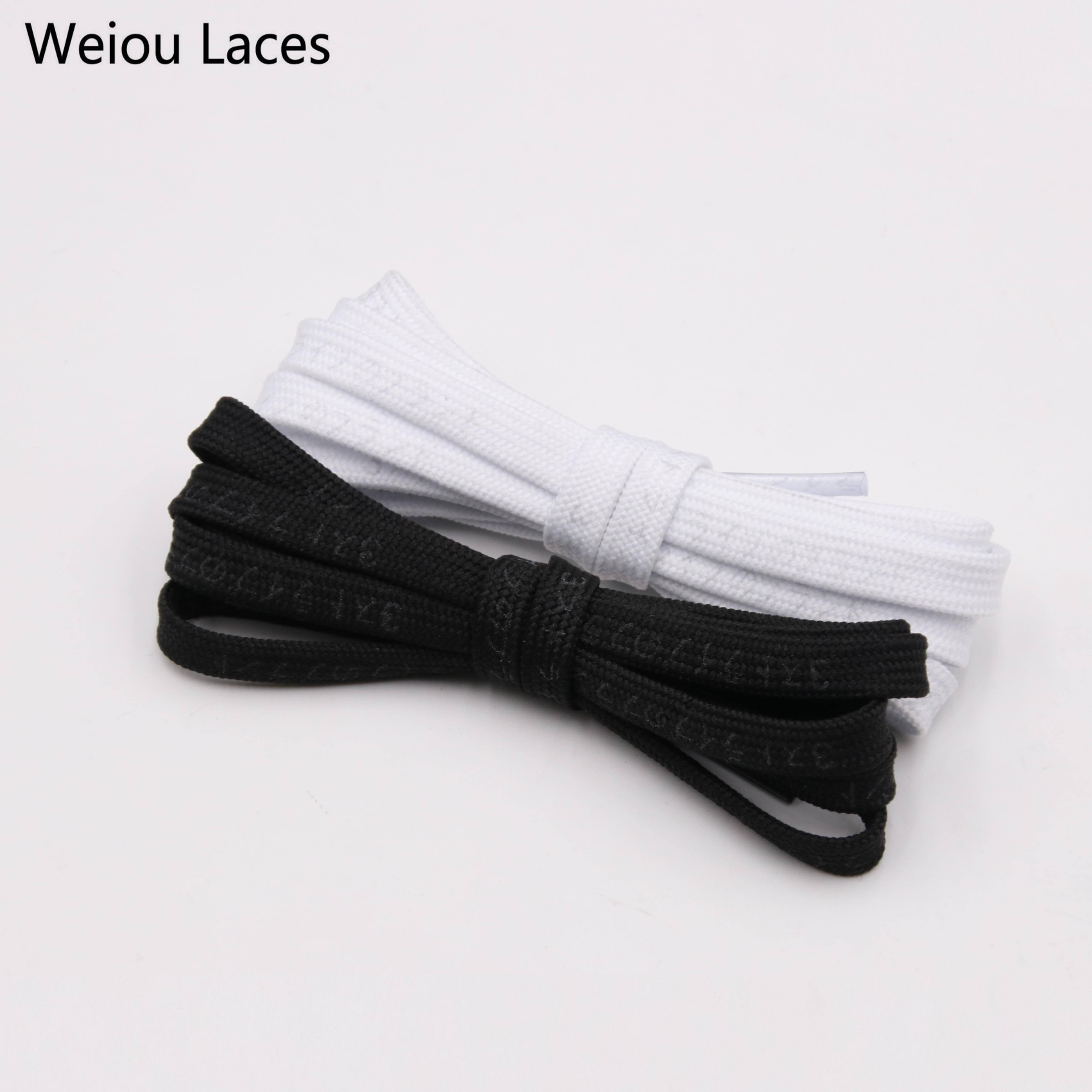 Weiou 7mm Flat Nice Letter Printing 3M Reflective Japanese Katakana Kanji Shoelaces Plastic Tips Printed Laces For Sport Shoes