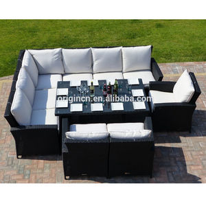 10 piece outdoor patio modular rattan furniture set for alfresco eating dining sofa