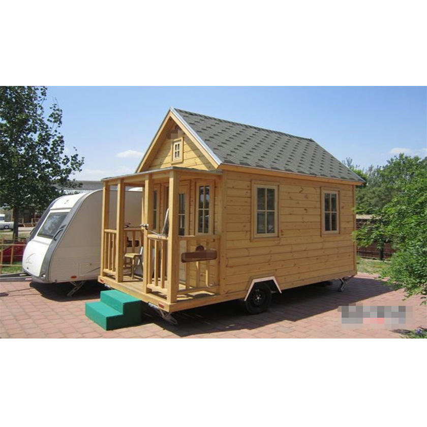 2016new Wooden small motor home K/D cabin wooden house frame steel and wheel