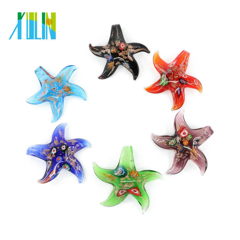 MC0008 Millefiori and gold sand Starfish Lampwork Glass Pendants Handmade Foil Glass Pendants for necklace 12pcs/box