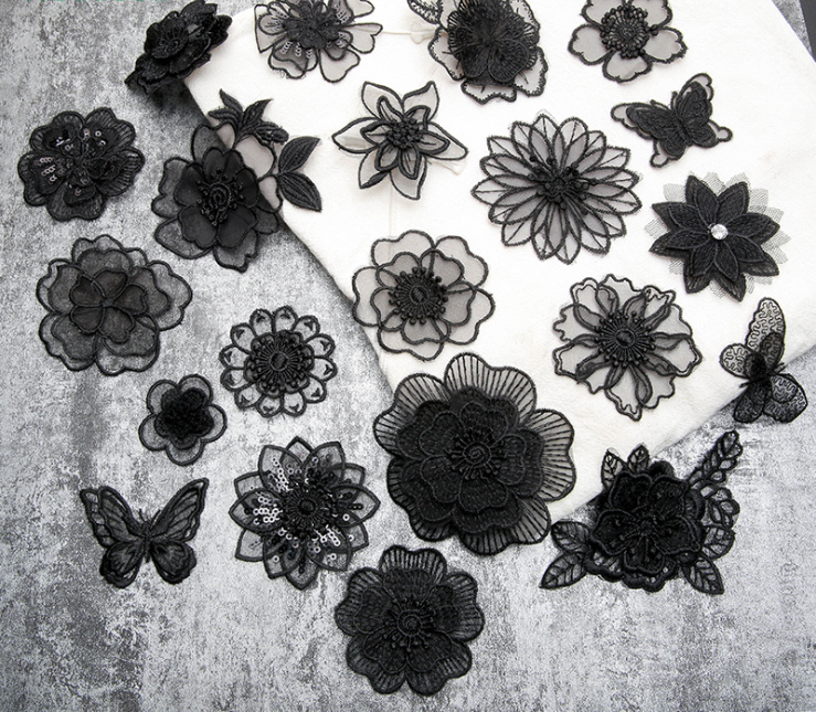 Fashion DIY Embroidered Black Lace Flower Applique