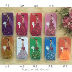 The princess quicksand liquid wedding dress phone case cover for iPhone