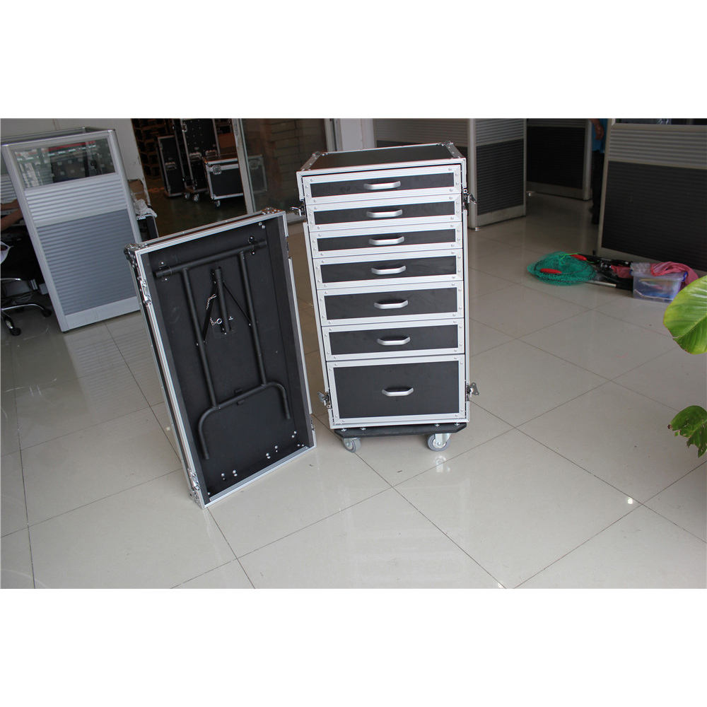 5 drawers flight cases with a side working table