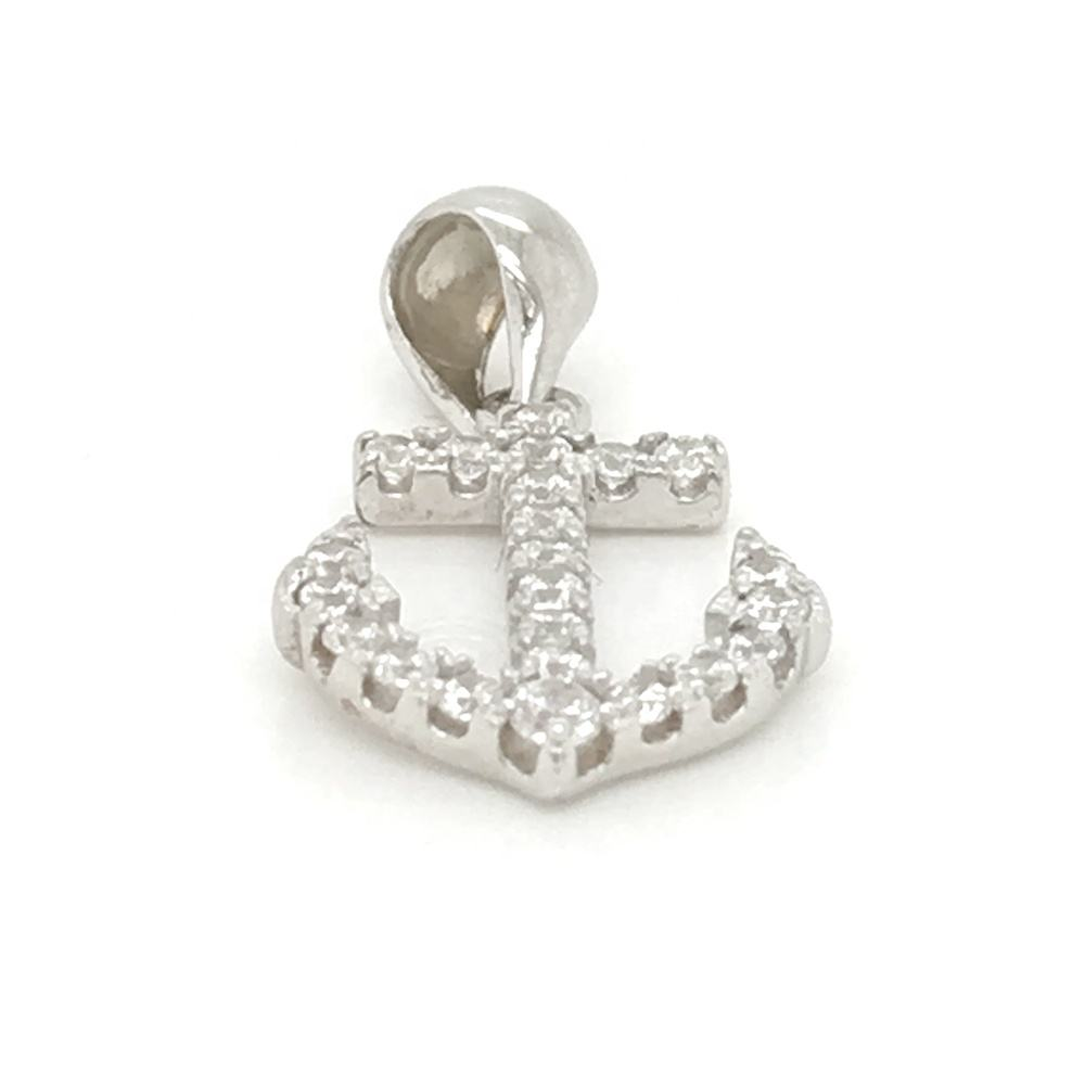 Wholesale Diamond Cubic Zirconia Silver Anchor Pendants, Anchor Charm Jewelry Supplies