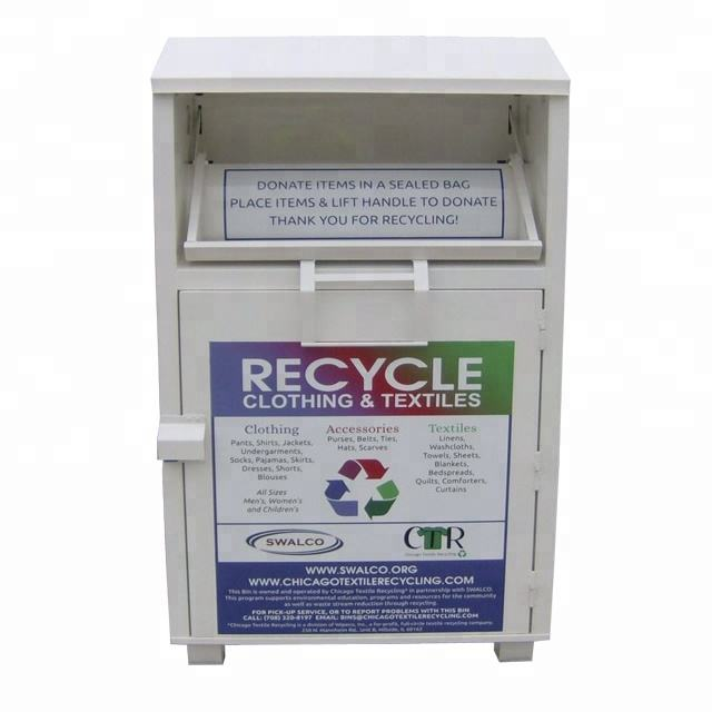 colored metal charity clothing donation box