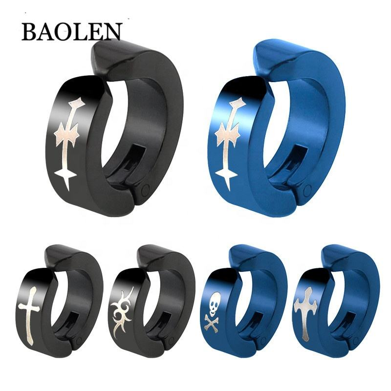 Hot selling fashion 316L stainless steel black&blue colored small hoop earrings Customized marking pattern