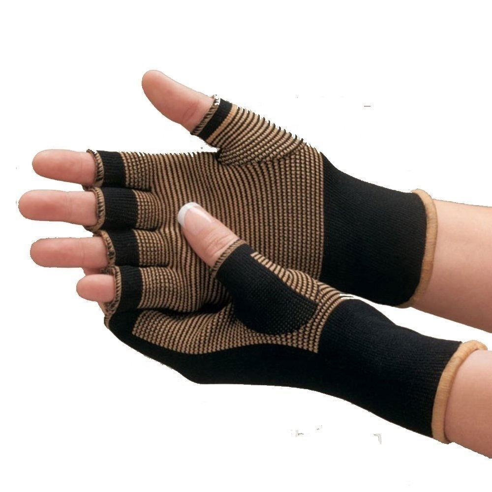 New Open Finger Comfortable Copper Infused Heating Therapy Compression Arthrists Gloves