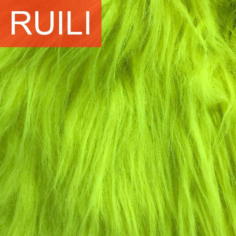 Used for toy or rugs long pile yellow color fake faux fur