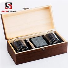 Whiskey Stones Gift Set , Granite Chilling Whisky Rocks + 2 Crystal Shot Glasses in Wooden Box , Premium Bar Accessories