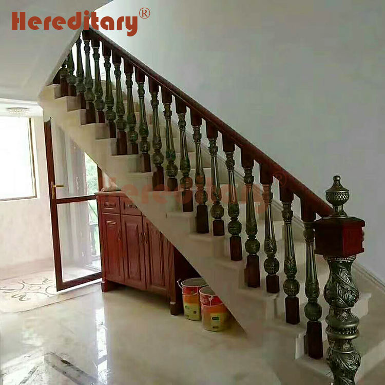 Bronze color wood and aluminum baluster mould stair railing for house decoration
