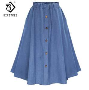 New Arrival Denim Women Solid Color Long Skirt Nature Waist Female Big Hem Casual Button Jean Skirt B92505R