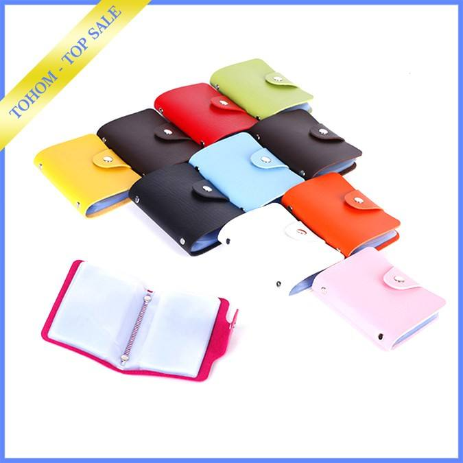 Wholesale mix colors custom 24 slots PU leather credit card case