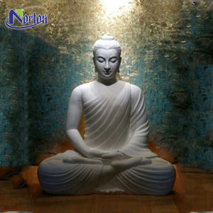 Wholesale custom large outdoor carving life size white stone buddha sculpture sitting white marble buddha statues for sale