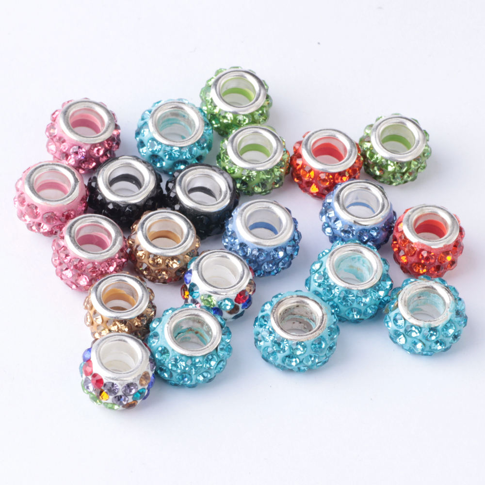 fashion white pink blue mix colors clavus large hole wholesale black rhinestone spacer crystal beads wholesale for sale