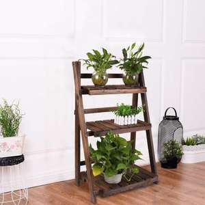 wooden flower display stand hanging plants rack