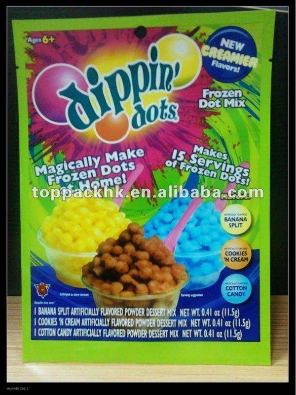 Dippin dots ice creamier packaging bag/paper bags/plastic pouch