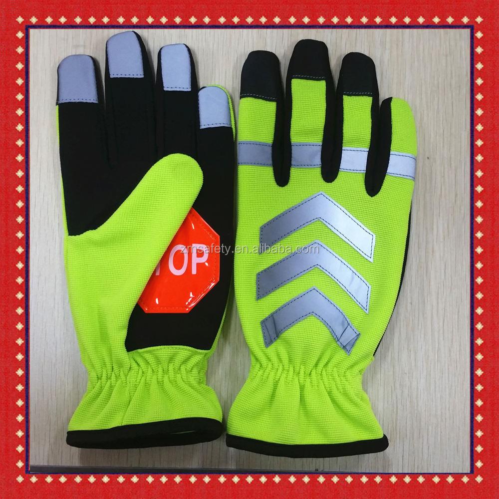 Winter Warm Waterproof Glove Traffic Police Safety Hi-Vis Reflective Gloves