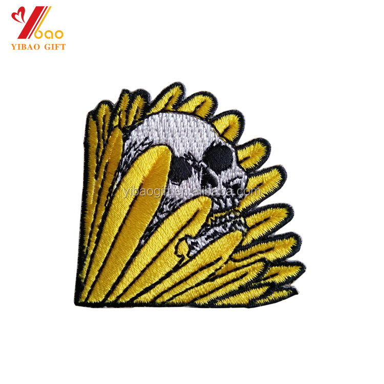 Applique Patch manufacturer custom All seasons Hats Skull embroidery patch