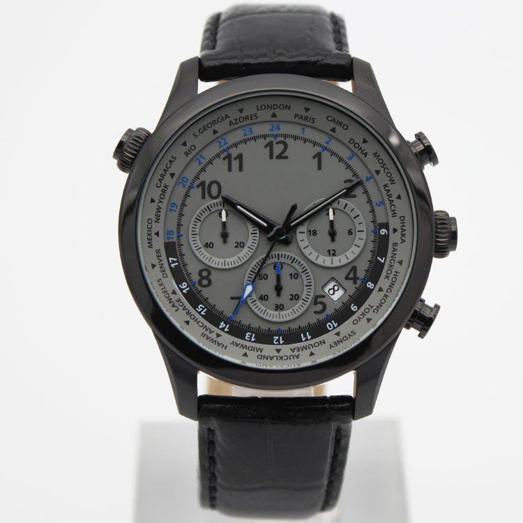 Low moq fashion design king quartz chronograph watch custom any color case