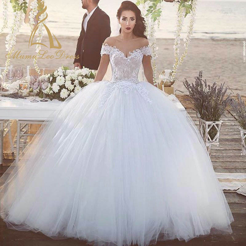 Lace Appliques Tulle Puffy Skirt Off The Shoulder Ball Gown Wedding Dress With Lace Up Back tailor made wedding dress