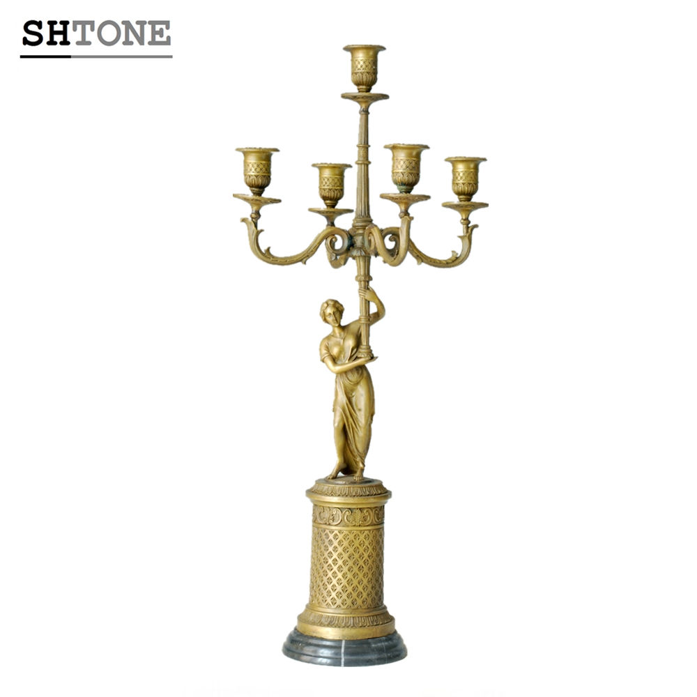 TPCH-010 Candlestick Bronze Statue Women Candle Holder Home Decor Sculptures Candle holder