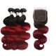 Wholesale Two Tone 1B 99J Body Wave Hair Weave 3 Pcs With Lace Closure Ombre Colored Burgundy Human Hair Bundles With Closure