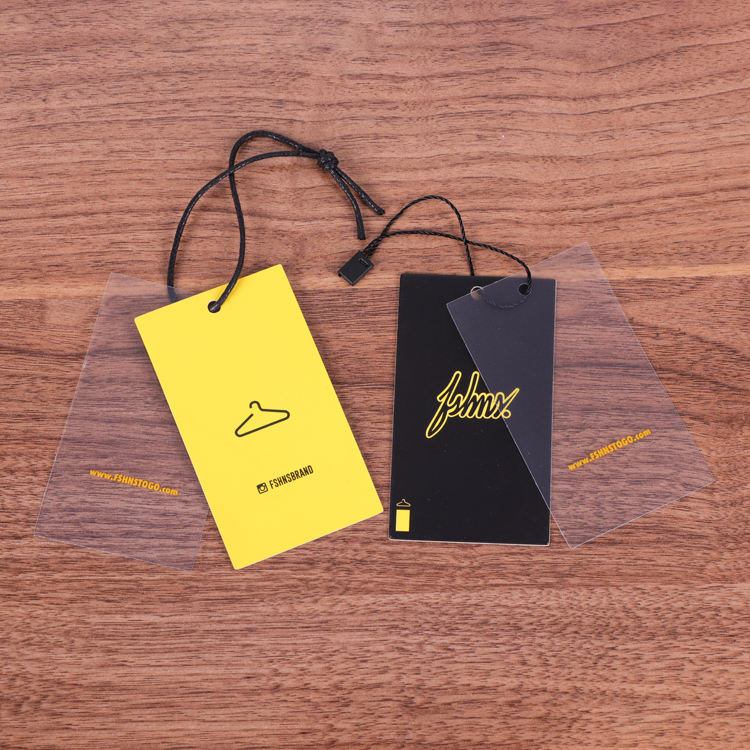Fashion Translucent PVC Hang Tags With Own Logo,Luxury Swing Tag,Garment Accessories Plastic Clothing Paper Tags Set