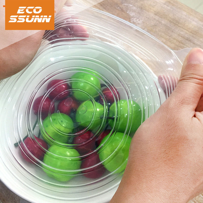 Multi Reusable 7pcs food covers reusable Silicone Storage Container round food fruit Lids cover