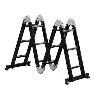 Multipurpose hinged narrow step aluminium ladder