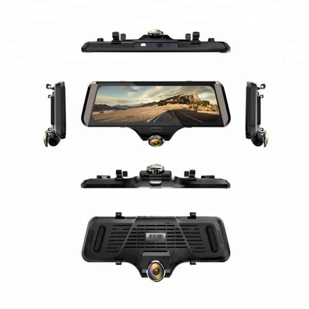 2018 nieuwste 360 graden view auto <span class=keywords><strong>dvr</strong></span> 7 inch full hd touch screen met dual lens auto camera spiegel zwart doos