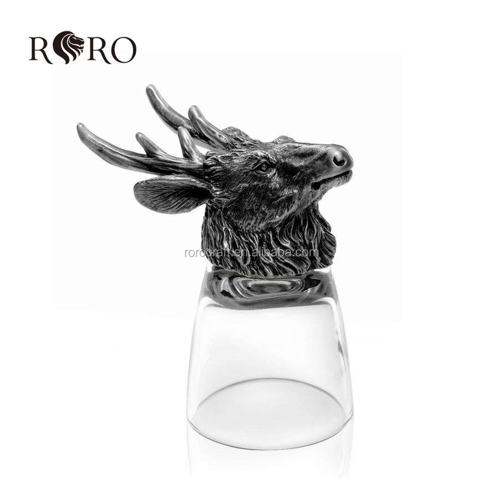 antique pewter animal head glass shot galss welcome OEM design craft dragon BUFFALO CHICKEN short glass