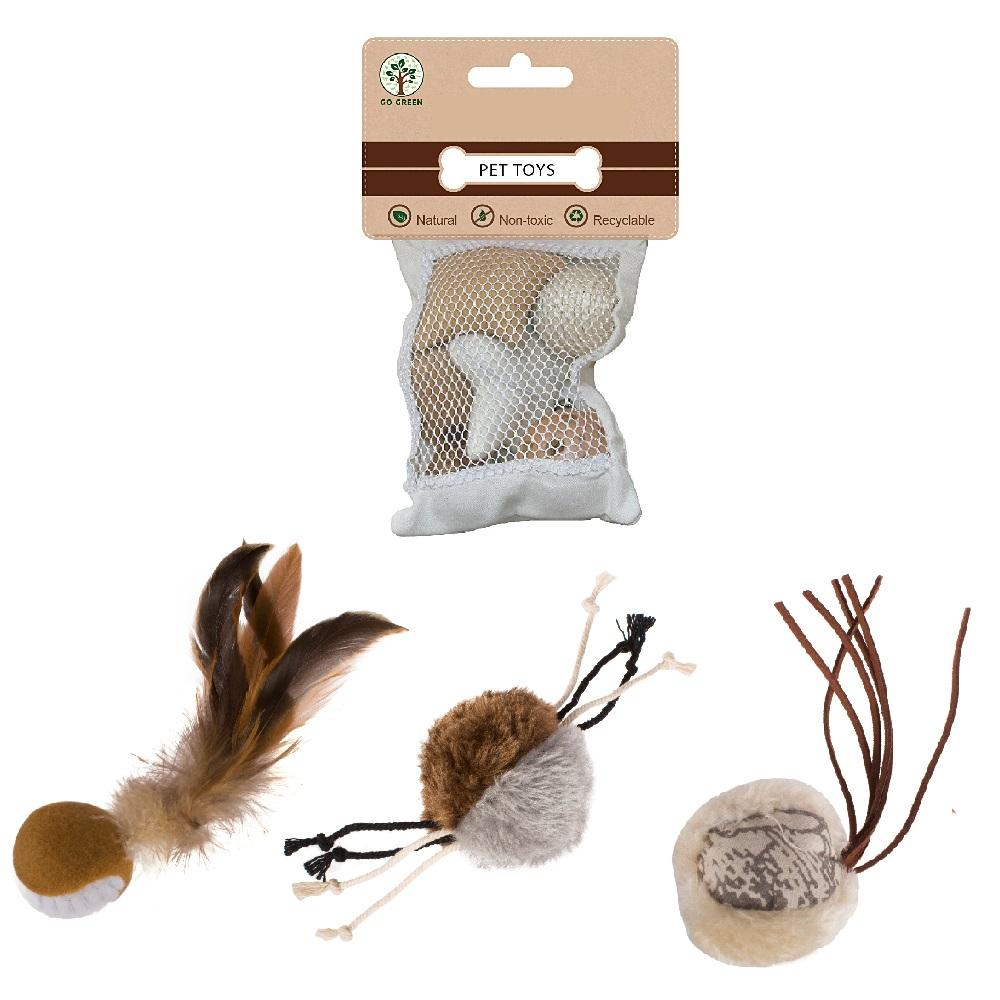Wholesale Custom OEM Bulk Private Label Catnip Feather Sponge Natural Treat Mint Ball Variety Pack Pet Cat Chew Toys Set For Cat