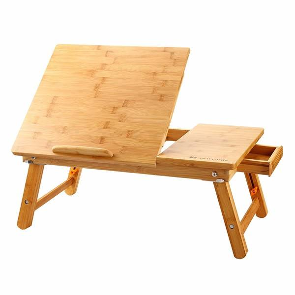 portable bamboo notebook bed table with adjustable feet