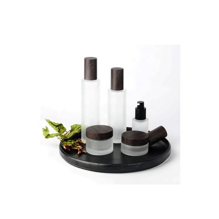 30ml 100ml 120ml 30g 50g matte glass lotion bottle / empty jar with wood grain lid / cosmetics cream bottle and jars