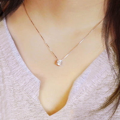 Fashion 925 silver pendant necklace woman diamond necklace