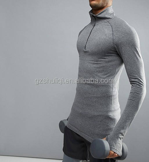 Compression long sleeve t shirt with thumb hole men fashion sport clothing quarter zip in grey