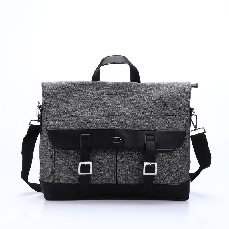OEM stylish black men long strap portable laptop business shoulder messenger Travel Bag