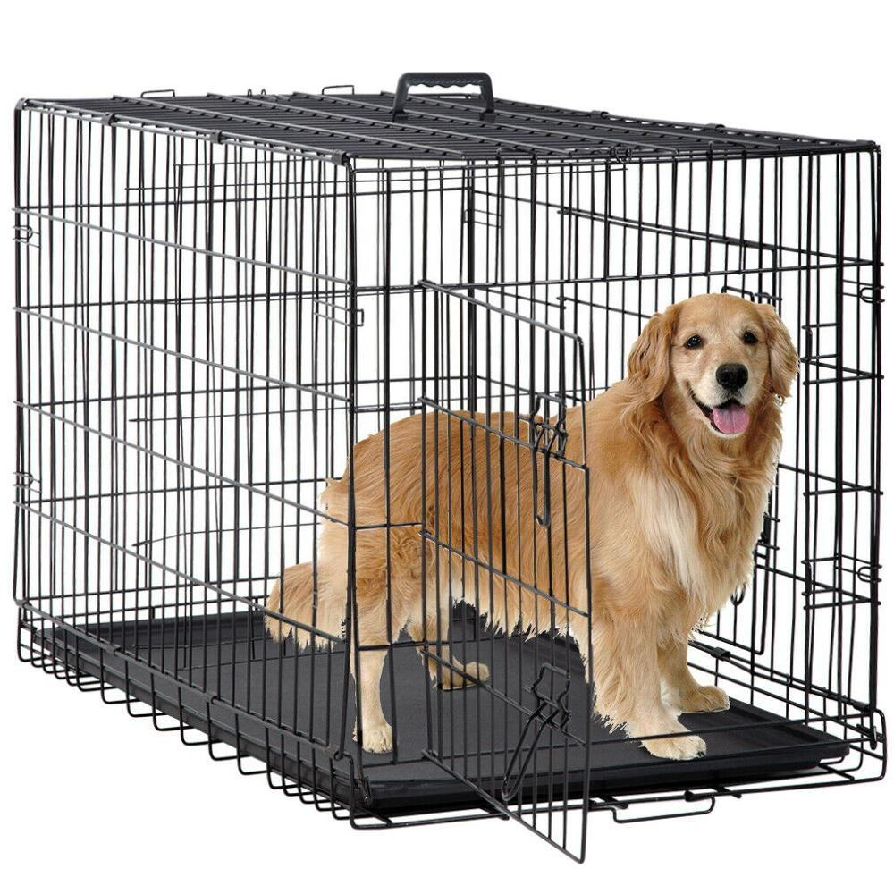 42inches Pet Kennel Cat Folding Crate Wire Metal Dog Cage with Divider