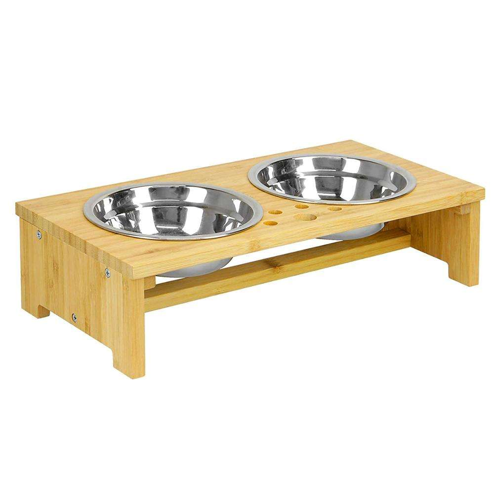 Raised Double Pet Bowls | Dog / Cat 2 In 1 Food & Water Metal Bowls