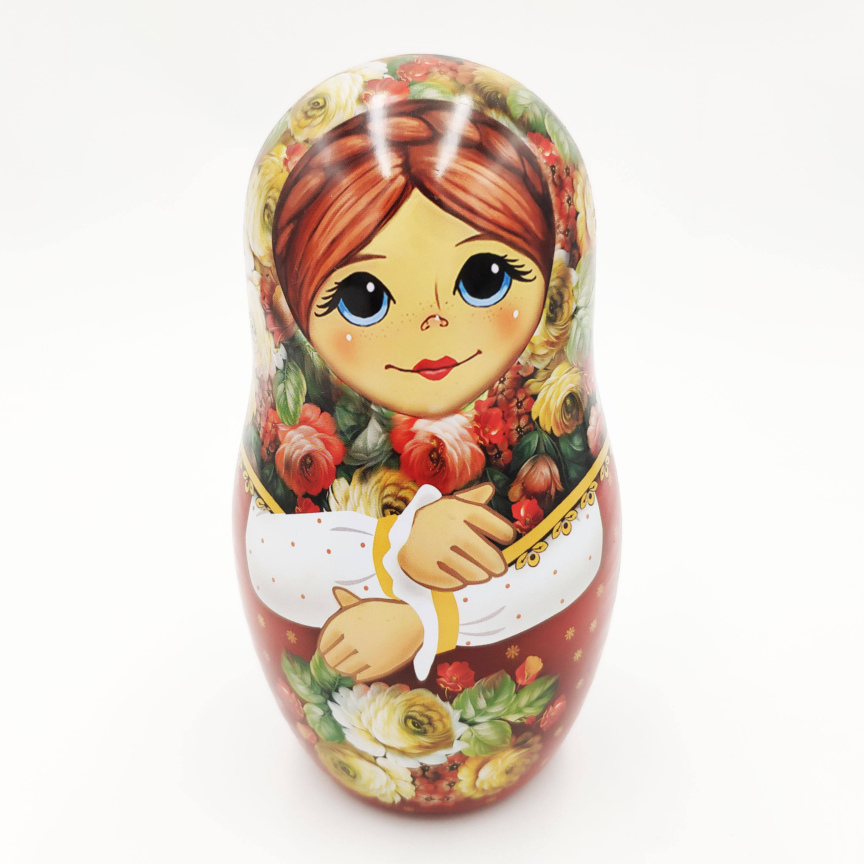 Christmas metal tin doll box