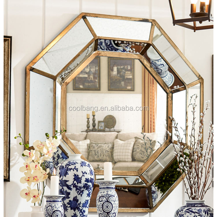 Fancy design octagonal cheap lightweight beveled hanging wall mirrors