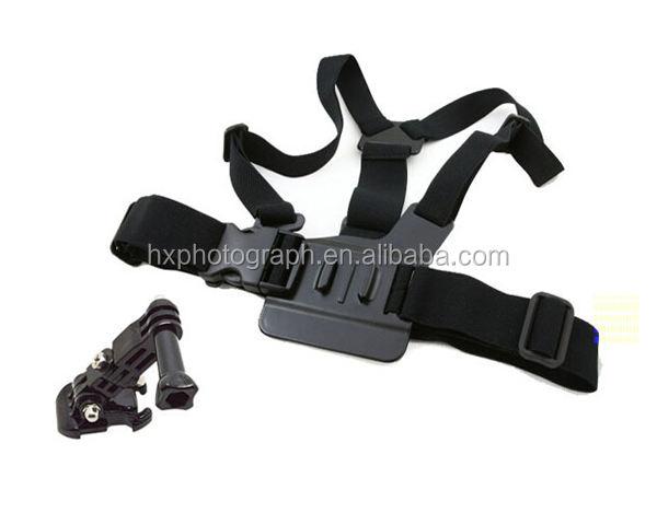 ホットアジャスタブルブラックゴープロボディ胸マウントショルダーハーネスバンドストラップgoprosカメラ