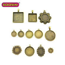 High Quality Antique Color Round Diy Photo Pendant Tray for Necklace Jewelry