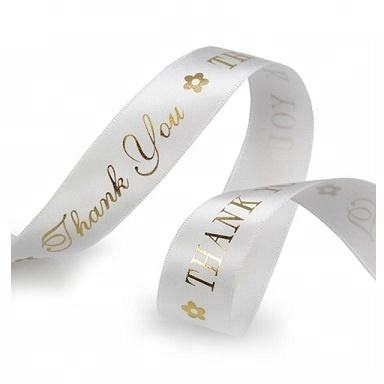 Wholesale 1 Inch Custom Printed Logo White Polyester Satin Ribbon, thank you ribbon