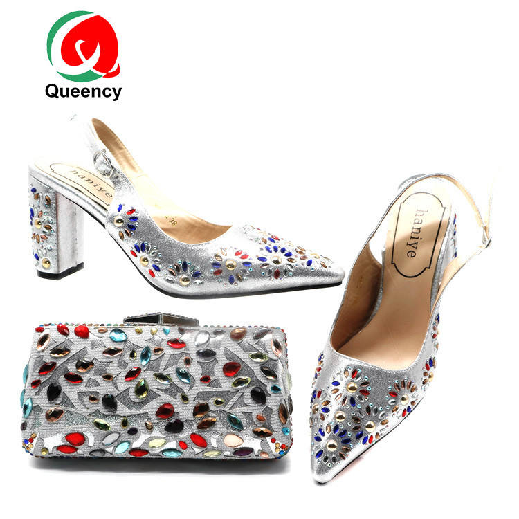 Queency Vogue Rhinestone Bag Clutch And Matching Shoes For Party