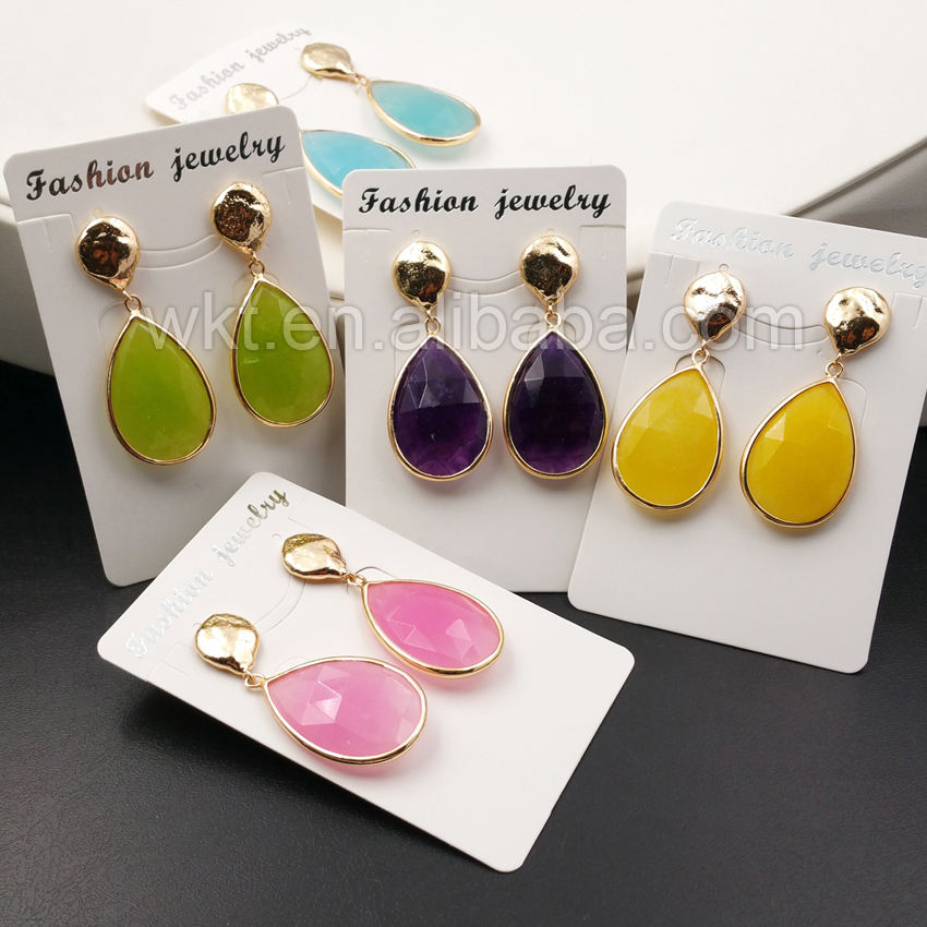 WT-E319 Fashion natural Jade Teardrop Earring , Wholesale Faceted Full gold plated metal on top women Jade Teardrop Earring